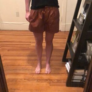 Zara Exotic Brown Leather-like Shorts!